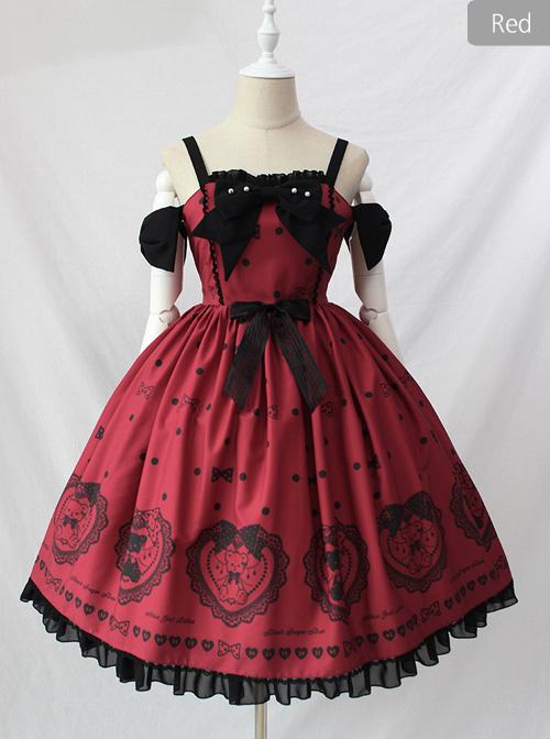 Black Sugar Bear Series Bowknot Sweet Lolita Sling Dress