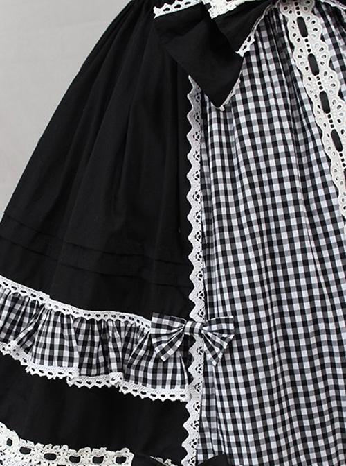 Margaret's Afternoon Tea Series Plaids Splice-color Bowknot Sweet Lolita Sling Dress