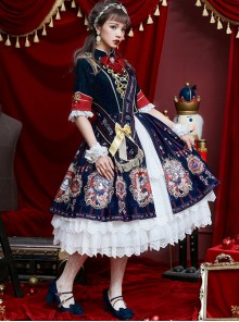 Fog-moon And Crown Series Court Style Elegance Classic Lolita OP Half Sleeve Dress Set