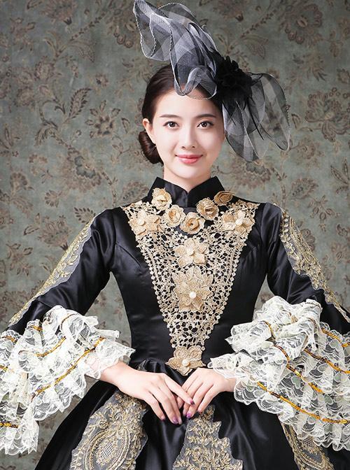 Lace Palace Style Black Trumpet Sleeve Classic Lolita Prom Dress