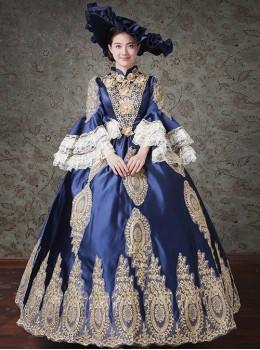 Palace Style Navy Blue Elegant Classic Lolita Prom Long Dress