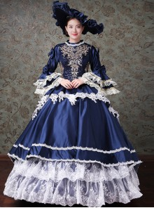 Palace Style Lace Embroidery Navy Blue Classic Lolita Prom Dress