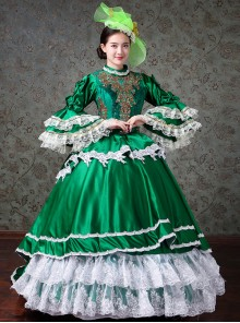 Palace Style White Lace Green Trumpet Sleeve Lolita Prom Long Trailing Dress