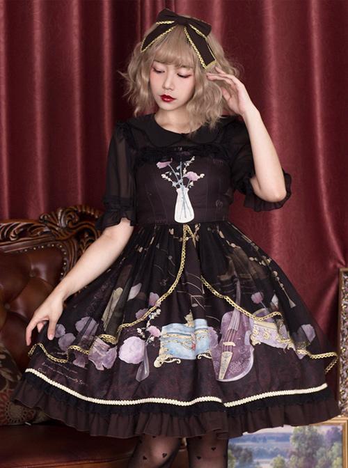Old Time Dream Series Retro Printing JSK Classic Lolita Sling Dress