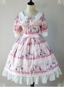Magic Tea Party Wonderland Quartet Series OP Sweet Lolita Short Sleeve Dress