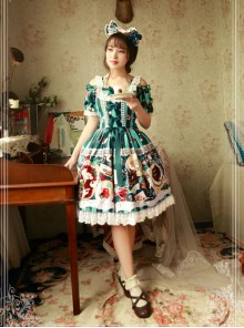 Magic Tea Party Sweet Christmas Series OP Cotton Lace Classic Lolita Short Sleeve Dress