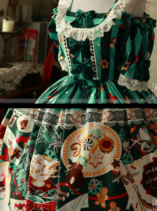 Magic Tea Party Sweet Christmas Series OP Cotton Lace Classic Lolita Short Sleeve Dress