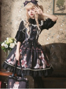 Coronation Bear Series JSK Chiffon Classic Lolita Sling Dress Version 2