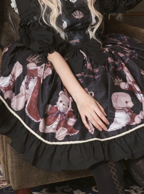 Coronation Bear Series JSK Chiffon Classic Lolita Sling Dress Version 2