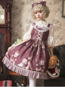 Coronation Bear Series JSK Chiffon Classic Lolita Sling Dress Version 1