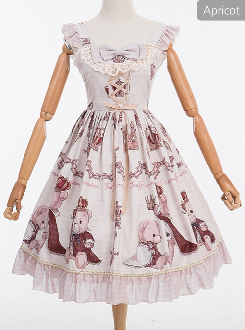 Coronation Bear Series JSK Chiffon Classic Lolita Sling Dress Version 1