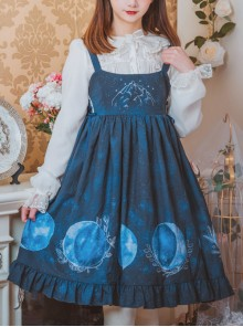 Lunar Eclipse Series Classic Lolita Dark Blue Sling Dress