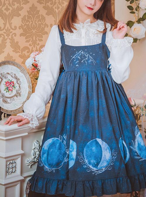 Lunar Eclipse Series Classic Lolita Dark Blue Sling Dress