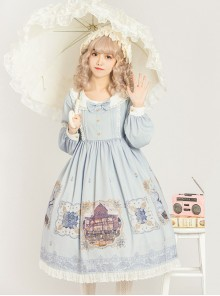 The Gallery Series OP Printing Classic Lolita Light Blue Long Sleeve Dress