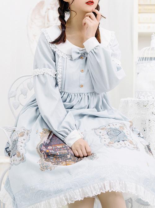 The Gallery Series OP Printing Classic Lolita Light Blue Long Sleeve Dress