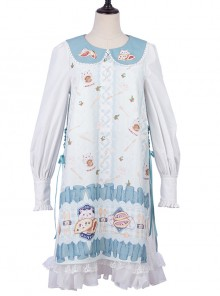 Soft Pancake Series Blue JSK Classic Lolita Sleeveless Dress And Long Sleeve Lining Dress Set