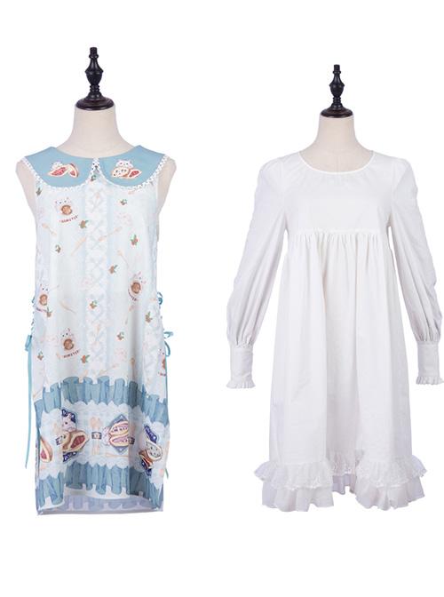 Soft Pancake Series Blue JSK Classic Lolita Sleeveless Dress And Long Sleeve Lining Dress Set