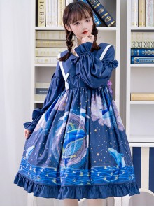 Nebula Whale Series OP Printing Classic Lolita Long Sleeve Dress