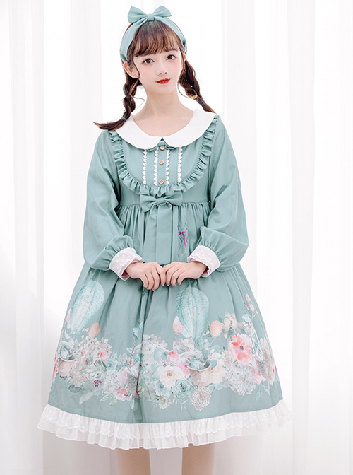 Rabbit Basket Series OP Doll Collar Classic Lolita Long Sleeve Dress
