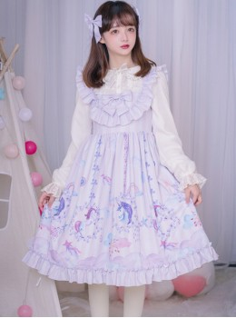 3e6d36cd47c Carousel Series JSK Ruffle Sweet Lolita Purple Sling Dress