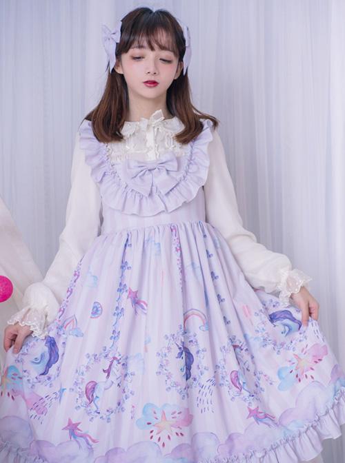 Carousel Series JSK Ruffle Sweet Lolita Purple Sling Dress