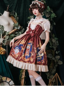 Time Machine Heart Series Printing JSK Retro Classic Lolita Sling Dress