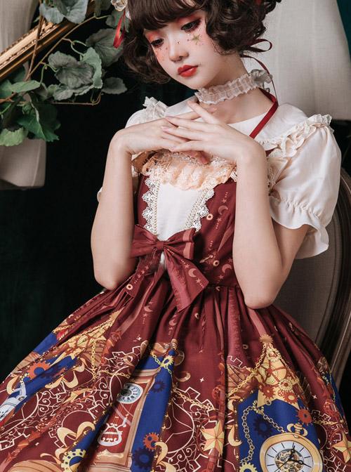 Time Machine Heart Series Printing JSK Retro Classic Lolita Sling Dress
