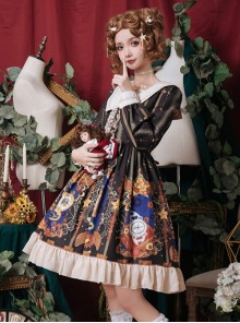 Time Machine Heart Series Classic Lolita Retro Long Sleeve Dress