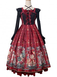 Alice's Christmas Series JSK Classic Lolita Wine Red Sling Dress