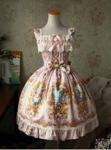 Magic Tea Party Alice Series JSK Printing Sweet Lolita Sling Dress
