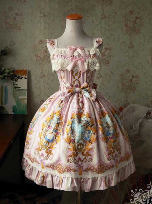 Magic Tea Party Alice Series JSK Printing Sweet Lolita Sling Dress