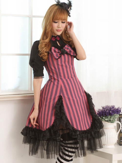 Lace Petal Hem Classic Lolita Small High Collar Short Sleeve Dress