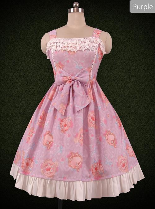 Crystal Love Series JSK Lace Ruffle Bowknot Classic Lolita Sling Dress