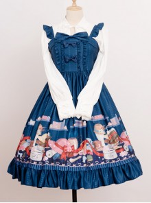 Magic Tea Party Handmade Girl's Hat Shop Series Printing Classic Lolita Sling Dress