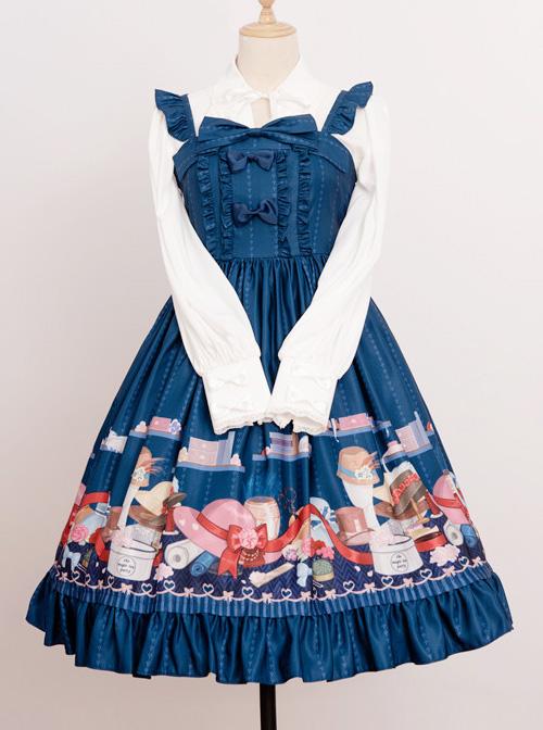 Magic Tea Party Handmade Girl's Hat Shop Series Printing Classic Lolita Sling Dress