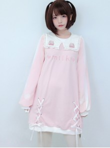 Small Square Collar Milk Sleeve Dress Printing Sweet Lolita Long Sleeve Dress