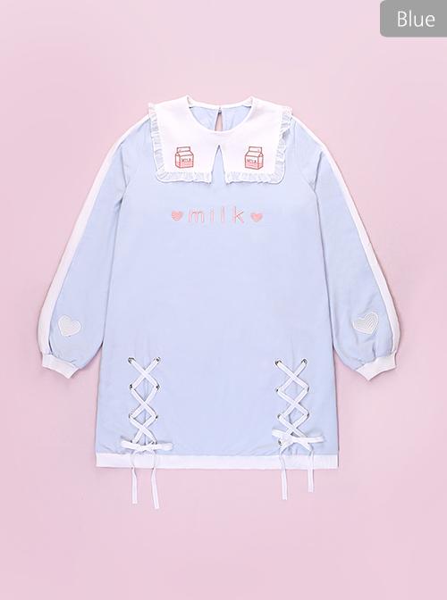 Small Square Collar Milk Sleeve Dress Printing Sweet Lolita Long Sleeve Dress