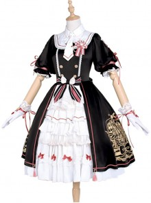 Cardcaptor Sakura Series OP Black And White Sweet Lolita Short Sleeve Dress