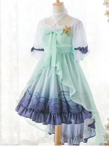 Marine Princess Series Sweet Lolita Gradient Sling Dress And Short Sleeve Lining