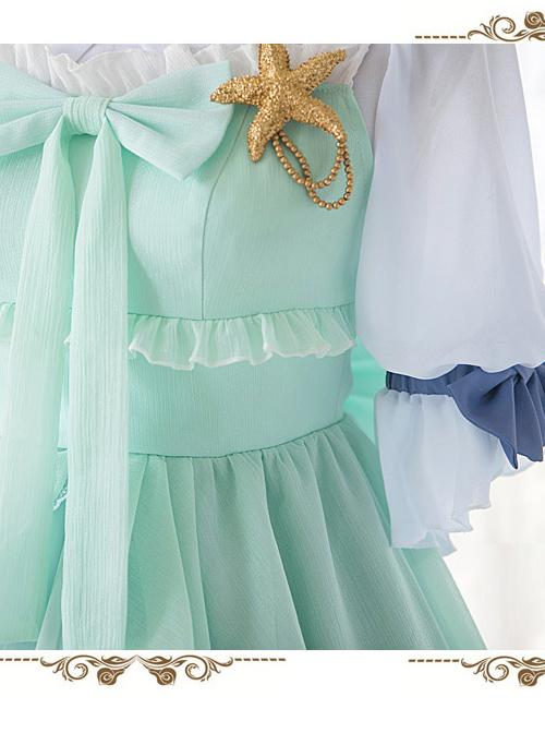 Marine Princess Series Sweet Lolita Gradient Sling Dress And Short Sleeve Lining