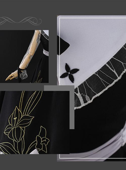 Night Lily Series Black Gothic Lolita Long Sleeve Dress