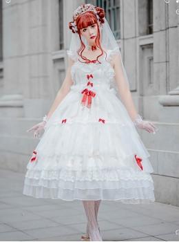 Elegant Pure White Lace Long Style Classic Lolita Sling Wedding Dress