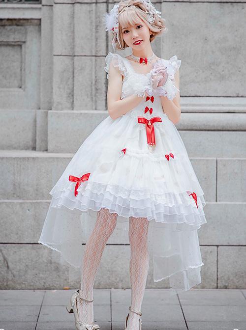 Elegant Pure White Lace Short Style Classic Lolita Sling Wedding Dress