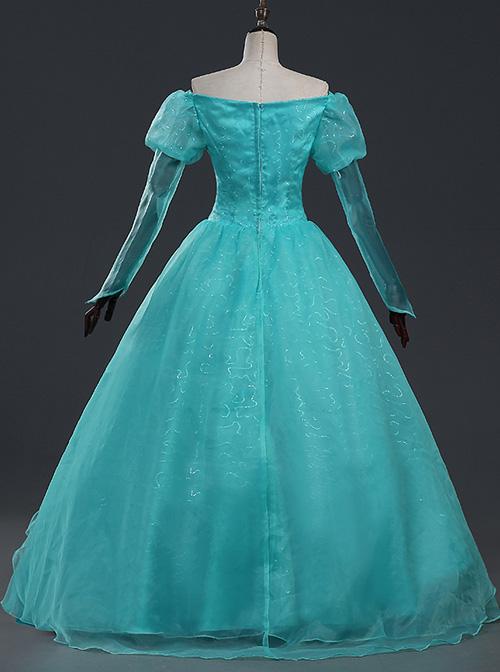 Mermaid Ariel Blue Dress Cosplay Costume Lolita Prom Dress