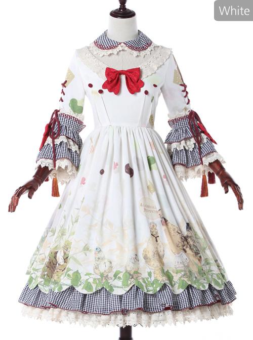 Grass Machicken Series OP Detachable Long Sleeves Sweet Lolita Dress