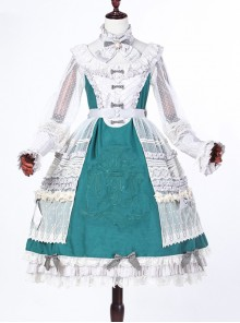 Classical Puppets Bear Series Embroidery OP Classic Lolita Long Sleeve Dress