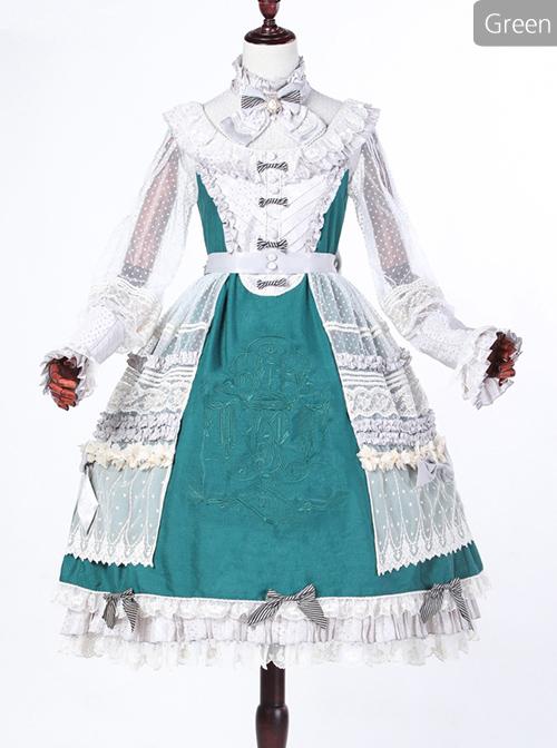 Classical Puppets Bear Series Embroidery OP Classic Lolita Long Sleeve Dress