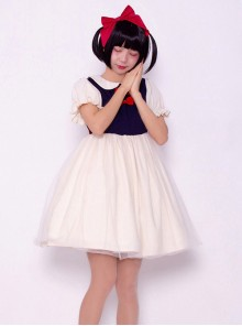 Snow White Cute Sweet Lolita Doll Collar Short Sleeve Dress