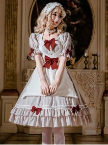 Cute Ruffle Maid Uniform Sweet Lolita Bowknot Short Sleeve Dress And Apron Set