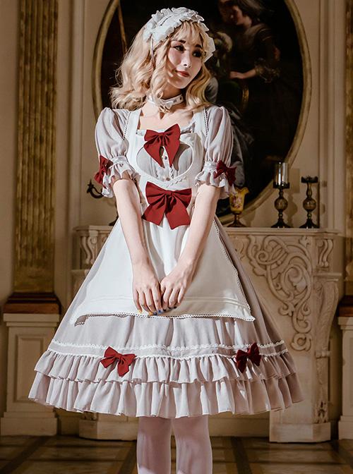 Cute Ruffle Maid Uniform Sweet Lolita Bowknot Short Sleeve Dress And Apron Set